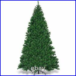9Ft Pre-Lit PVC Artificial Christmas Tree Hinged with 700 LED Lights & Stand Green
