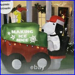 9.5 Ft Wide Gemmy Christmas Peanuts Snoopy Woodstock Zamboni Inflatable