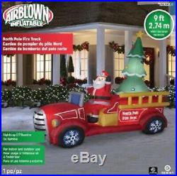 9 FT Gemmy Lighted Santa's Delivery FIRE TRUCK AIRBLOWN Christmas Inflatable