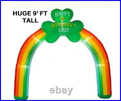 9' FT St Patricks Day Rainbow Shamrock archway LED Lighted Airblown Inflatable