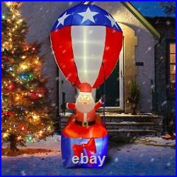 9 Ft Patriotic Uncle Sam Santa Hot Air Balloon Airblown Inflatable 4th Of July