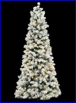 9 Ft. Pre-Lit Led Banff Pine Flocking Quick Set Artificial Christmas Tree With 1