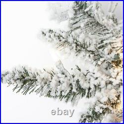 9' Prelit Narrow Flocked Pencil Pine Artificial Christmas Tree