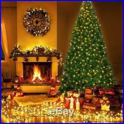 9ft Artificial Christmas Tree Premium Spruce Hinged Tree with LED Lights and Sol