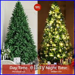 9ft Hinged Artificial Christmas Tree Unlit Douglas Full Fir Tree with 3594 Tips