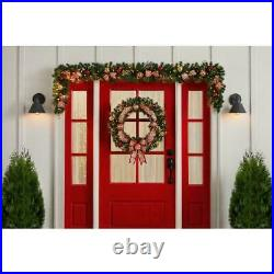 9ft LED Royal Easter Pre-Lit Decorated Pine Holiday Christmas Garland Wreath