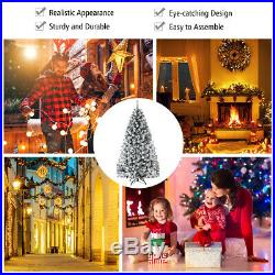9ft Premium Snow Flocked Hinged Artificial Christmas Tree Unlit with Metal Stand