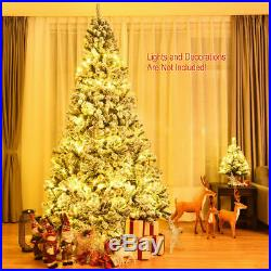 9ft Premium Snow Flocked Hinged Artificial Christmas Tree Unlit with Stand Decor