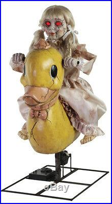 ANIMATED ROCKING GIRL RIDING DUCKY Carnival Music Halloween Prop