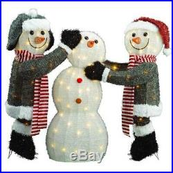Adorable three-piece family of Snowman Christmas Outdoor Decors inc 135 lights