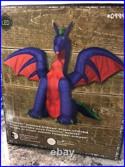 Airblown Inflatable Halloween Fire Ice Animated Purple Dragon Gemmy NEW 11 Ft