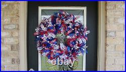 American Flag Patriotic BLING Deco Mesh Front Door Wreath Summer Fall Home Decor