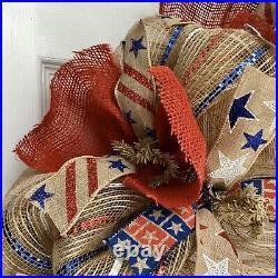 Americana Patriotic Ribbon Wreath Handmade Deco Mesh And Burlap