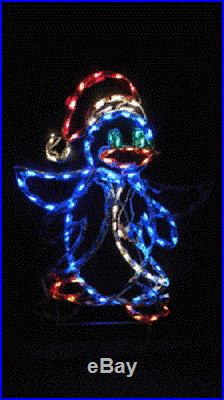 Animated Santa Penguin Outdoor Holiday LED Lighted Decoration Steel Wireframe