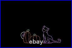 Animated Scaredy Cat Halloween LED Light metal wire frame outdoor yard display