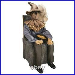 Animated Spooky Sitting Scarecrow On Chair Motion Sound Sensor Halloween Decor