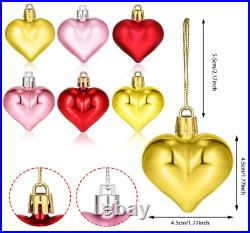 Anniversary Birthday Decorations 72 Pack Red Pink Gold Heart Ornaments Love New