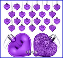 Anniversary Birthday Decorations Decor 24 Pack Purple Heart Ornaments Hearts