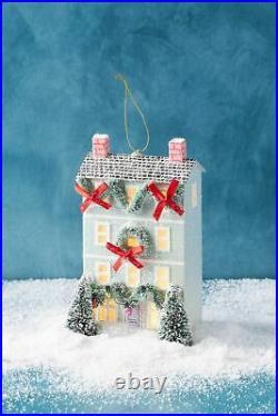 Anthropologie George & Viv Light-Up Holiday Cottage Ornament Village Row House