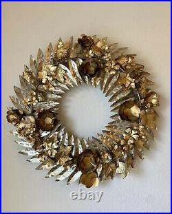 Anthropologie Holiday Christmas Thanksgiving Hammered Garland Wreath EUC