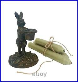 Antique French Style Rabbit Hare Candlestick Candle Holder Xmas Dinner Table