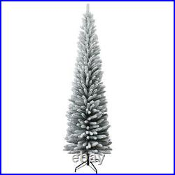 Artificial 7Ft Snow Flocked Frosted Slim Christmas Pencil Tree Home Decorations