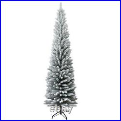 Artificial 8Ft Snow Flocked Frosted Slim Christmas Pencil Tree Home Decorations