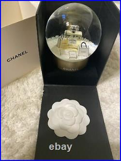 Auth New Chanel Perfume No. 5 Shopping Bag Box Snow Globe Camellia Box Gift VIP