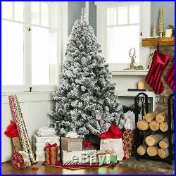 BCP 7.5ft Flocked Pre-Lit Artifical Pine Christmas Tree with Warm White Lights