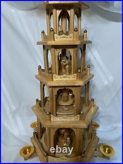 BRUBAKER Christmas Pyramid 26 Wood Nativity 5 Tier Carousel German folk art