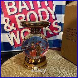 Bath And Body Works Lite-up Water Globe Farm House 3 Wick Candle Pedestal Bnib