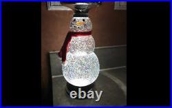 Bath And Body Works Lite-up Water Globe Snowman 3 Wick Candle Pedestal Bnib