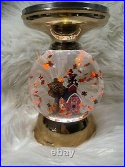 Bath & Body Works Fall Harvest Pedestal Candle Holder Globe Lights Up Red Barn