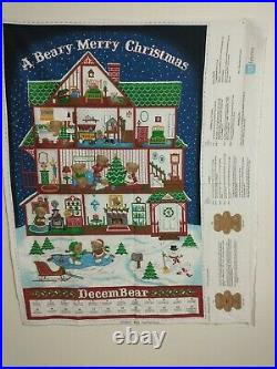 Beary Merry Christmas Advent Calendar QT Fabric Panel New With Instructions & Bear