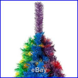 Best Choice Products 7ft Artificial Colorful Rainbow Full Fir Christmas Tree