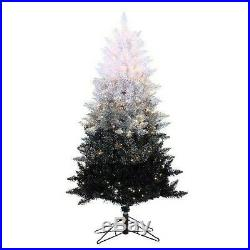 Black & White Ombre Christmas Tree PreLighted Holiday Home 5Ft Decor Metal Stand