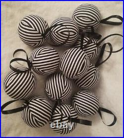 Black white striped christmas ornament joy peace merry noel believe jingle decor