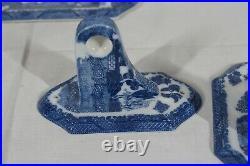 Blue Willlow Pattern Porcelain Bathroom Towel Bar & Toilet Paper Holder Set New