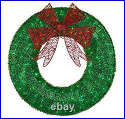 CGC Christmas Wreath Large Medium Artificial 90cm 60cm Lit LED Green Bow Outdoor