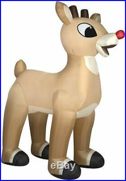 CHRISTMAS 10 Ft RUDOLPH RED NOSE REINDEER Airblown Lighted Yard Inflatable