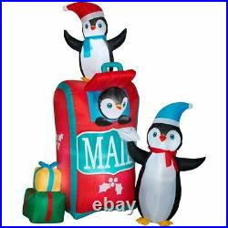 CHRISTMAS 6.5 Ft PENGUIN MAIL BOX GIFT Airblown Inflatable YARD DECORATION