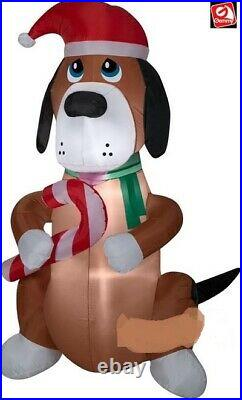 CHRISTMAS SANTA CANDY CANE DOG Airblown Inflatable 6 FT GEMMY