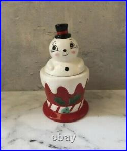 Carnival Cottage by Johanna Parker & Magenta Snowman Cookie Jar VHTF Christmas