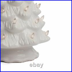 Ceramic Lighted Christmas Tree, Large White Tabletop Tree/Clear Lights 15.5