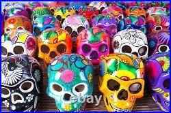 Ceramic Skulls Large x 8, Dia de los Muertos Skull Decor, Mexican Fiesta Decor