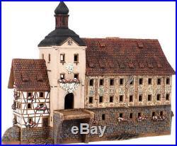 Ceramic house tea light holder Town hall Bamberg, Germany 21cm Midene hand made