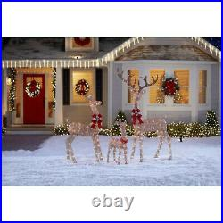 Champagne 3 Piece Lighed Deer Family Outdoor Christmas Yard Decor