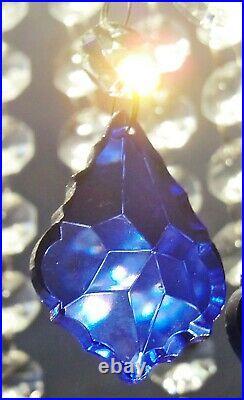 Chandelier Cut Glass Crystals Vintage Blue Leaf Drops Christmas Tree Decorations