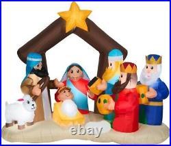 Christmas 6.5 Ft Nativity Scene Jesus 3 Wisemen Airblown Inflatable Yard Gemmy