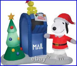 Christmas 6 Ft Santa Snoopy Woodstock Mailbox Airblown Inflatable Yard Gemmy